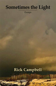 Sometimes the Light by Rick Campbell book cover shows a dramatic view of a beach with a tumbling sky above.